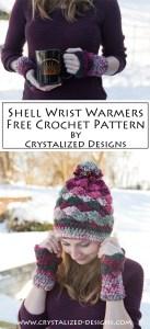 Shell Wrist Warmers Free Crochet Pattern by Crystalized Designs