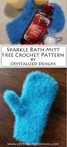 Sparkle Bath Mitt Free Crochet Pattern by Crystalized Designs