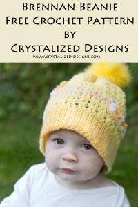 Brennan Beanie Free Crochet Pattern by Crystalized Designs