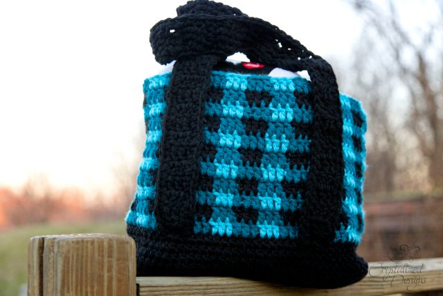 Buffalo Plaid Tote Bag Free Crochet Pattern