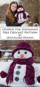 Crispen the Snowman Free Crochet Pattern by Crystalized Designs