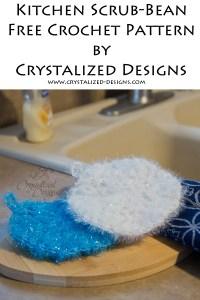 Kitchen Scrub Bean Free Crochet Pattern by Crystalized Designs