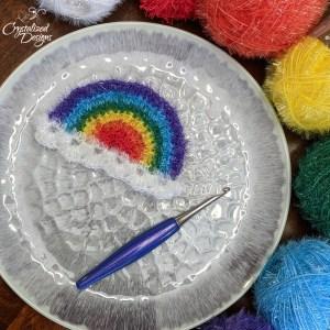 Rainbow dishcloth free crochet pattern