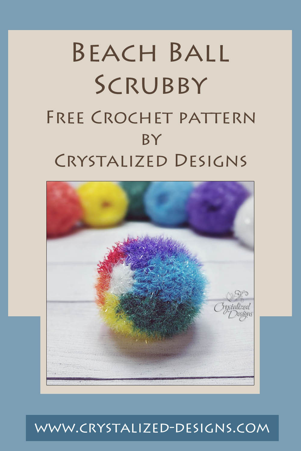 Beach Ball Scrubby Free Crochet Pattern by Crystalized Designs 16