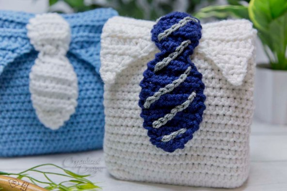 Father's Day Gift Bag Free Crochet Pattern by Crystalized Designs