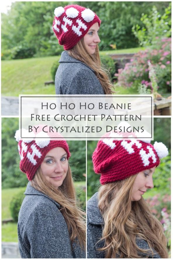 Tapestry Beanie Ho Ho Ho Crochet Pattern