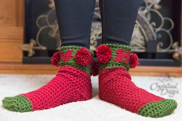 Ho Ho Ho Holiday Sock Crochet Pattern