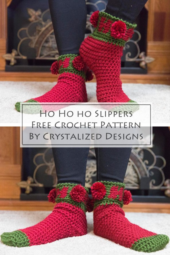 Ho Ho Ho Slippers Free Crochet Pattern by Crystalized Designs 5