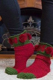 Ho Ho Ho Sock Crochet Pattern by Crystalized Designs