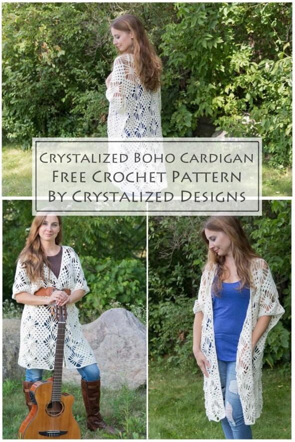 Boho Cardigan Free Crochet Pattern by Crystalized Designs