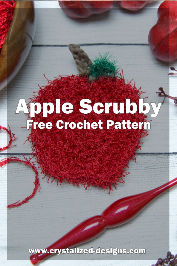 Apple scrubby Free Crochet Pattern by Crystalized Designs