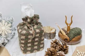 Rustic Gingham Tissue Cover Crochet Pattern