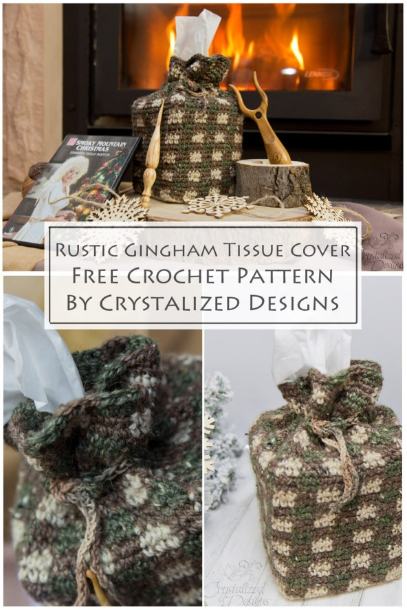 Rustic Gingham Tissue Cover Free Crochet Pattern by Crystalized Designs