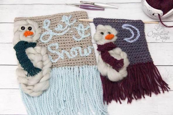 Snowman Wall Hangings Crochet Pattern