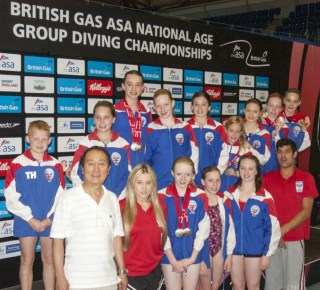 ASA National Age Groups 2014. Group shot with Chelsea, Chan and Ashley