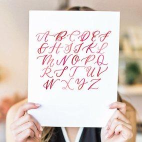 Pink Alphabet Calligraphy