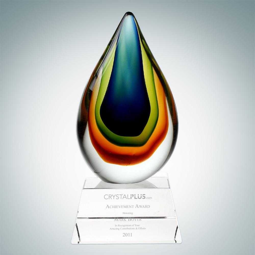 art glass teardrop award
