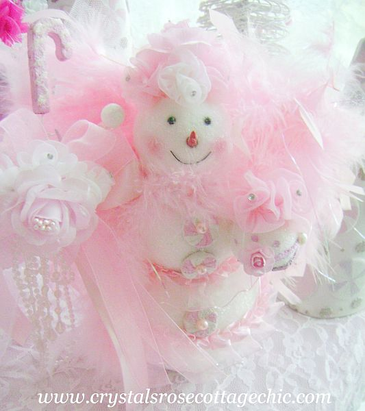 Pink Snowman Shabby Chic Christmas Decor Snow Angel Rose