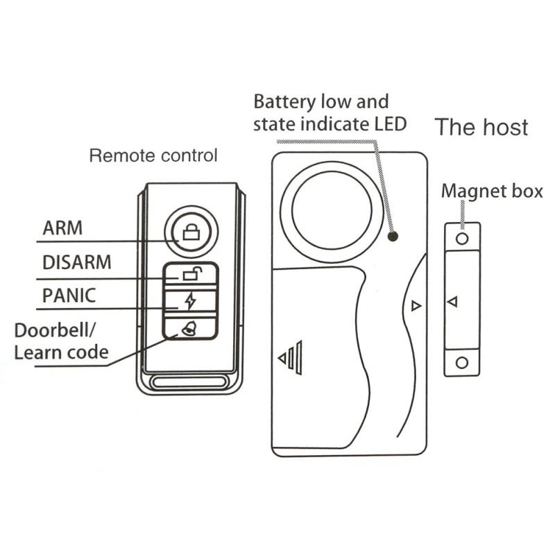 wireless door alarm, window security alarm, alarm with