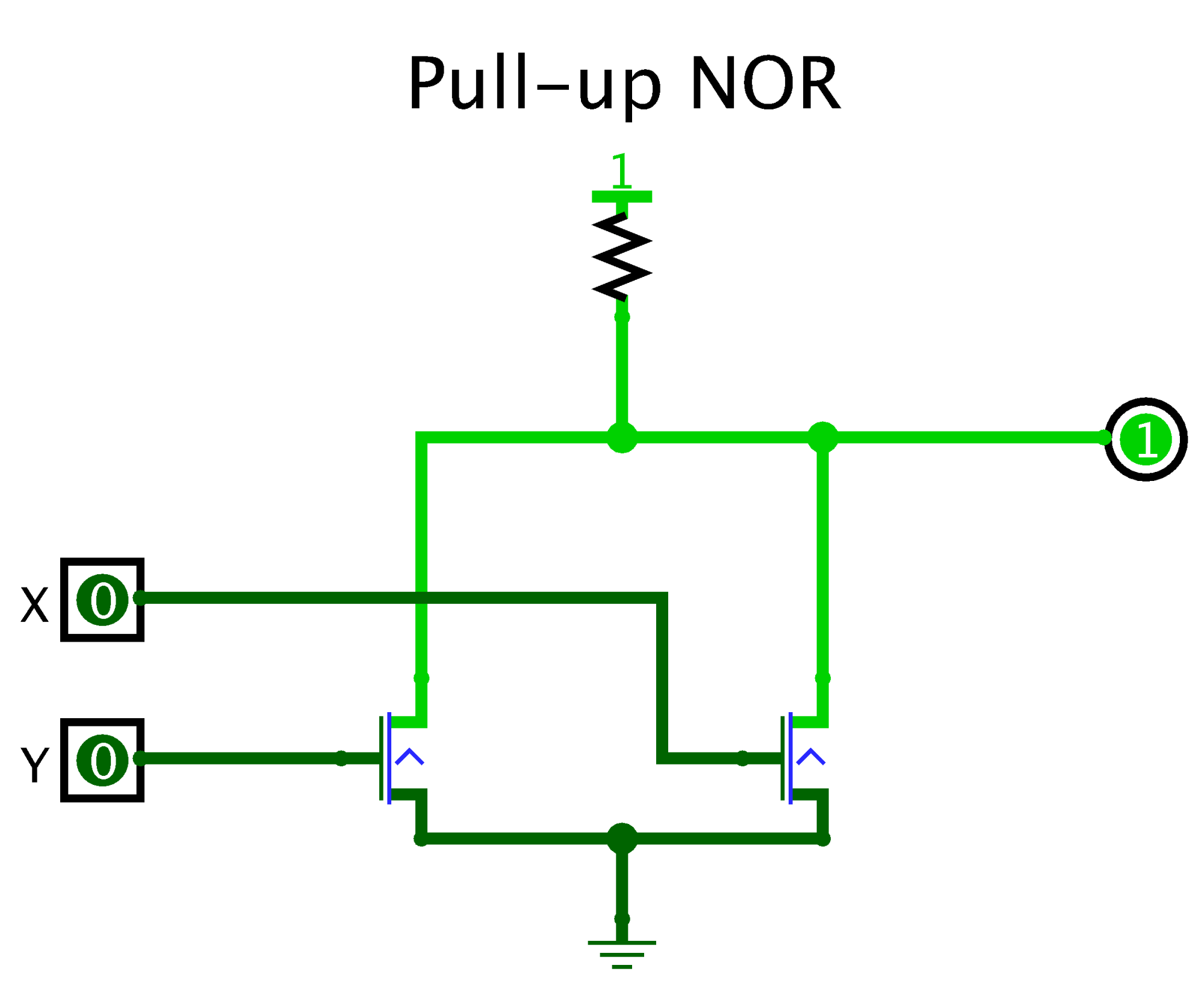 hight resolution of pull up and npn for nor