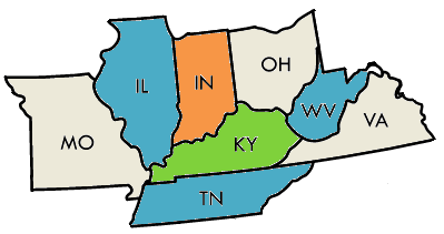 Kentucky and adjacent states 4-colored
