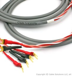 canare 4s8 star quad speaker cable pair with vampire wire hds5 spades front  [ 1387 x 1041 Pixel ]