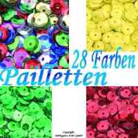 Pailletten rund gewlbt  6mm 28 Farben zu 5g & 1kg ...