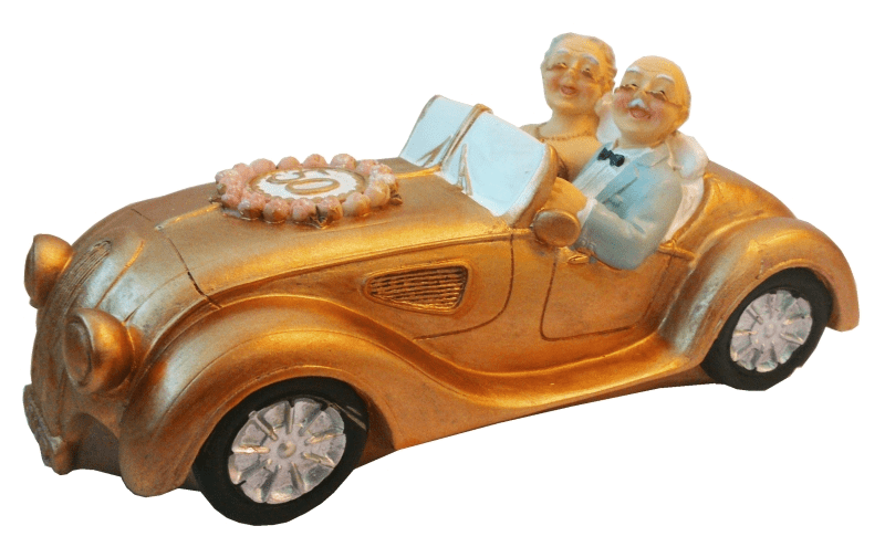 Spardose Gelddose Hochzeitspaar im Auto 50 Jahre Goldene
