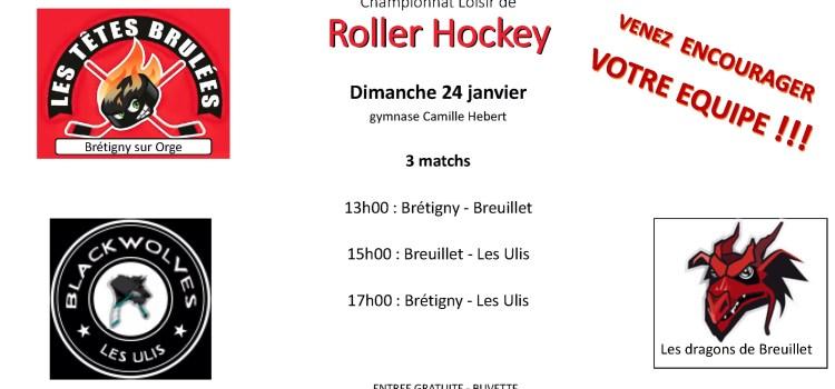Championnat de loisir Roller Hockey dimanche 24 janvier à Brétigny-sur-Orge