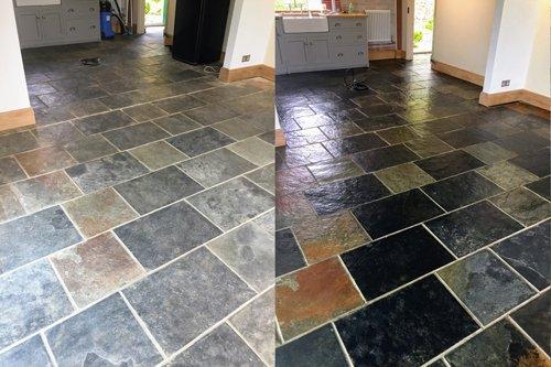 chinese slate floor revitalised to