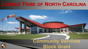 Picture of Lumbee Tribe of North Carolina building with the Lumbee Tribe logo in the bottom left corner of the image.