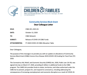 CSBG DCL 2021-01 Screenshot