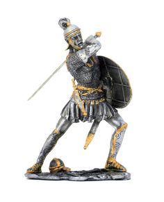 Small pewter Roman soldier stands with sword ready for battle.
