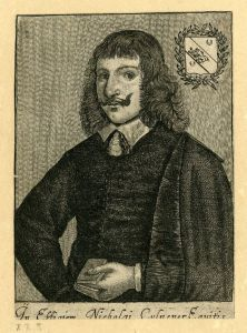 Curly, shoulder length hair with short bangs, upward turning mustache, wide eyes, and open serious expression describe Nicholas Culpeper, whose left hand holds a small book and his right hand sets on his hip in this portrait.