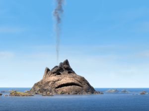 Uku loses hope of ever finding love in the middle of Lava Love by Pixar Animation Studios.