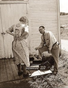Saleman selling silverware to farm woman