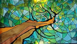 Tree of Life stain glass, artist unknown