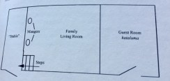 A rectangle diagram labeling Stable lower than Manger in Family Living Room with Guest Room (kataluma)