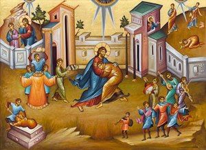 In Byzantine style of bright colors and medieval setting a haloed Jesus is the father that embraces the Prodigal. People around them have musical instruments and one man is cutting the fatted calf.