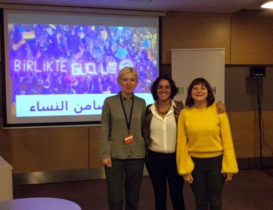 Aliyme Demir (KAOS-GL), Rima Athar (CSBR), and Berfu Seker (WWHR-New Ways) - Istanbul 3 November 2017