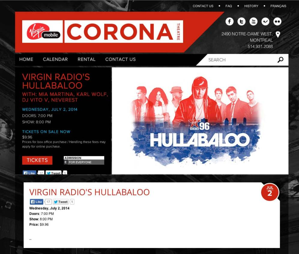 VVirgin Radio's Hullabaloo - Keyart on Corona Theater website