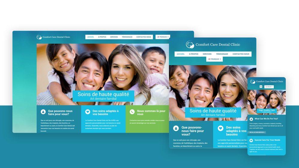 Le site de la Comfort Care Dental présentée sur différentes tailles d'écran