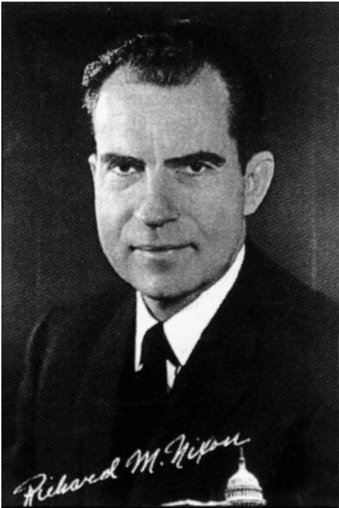 portrait of Nixon and link to PDF copy of ad
