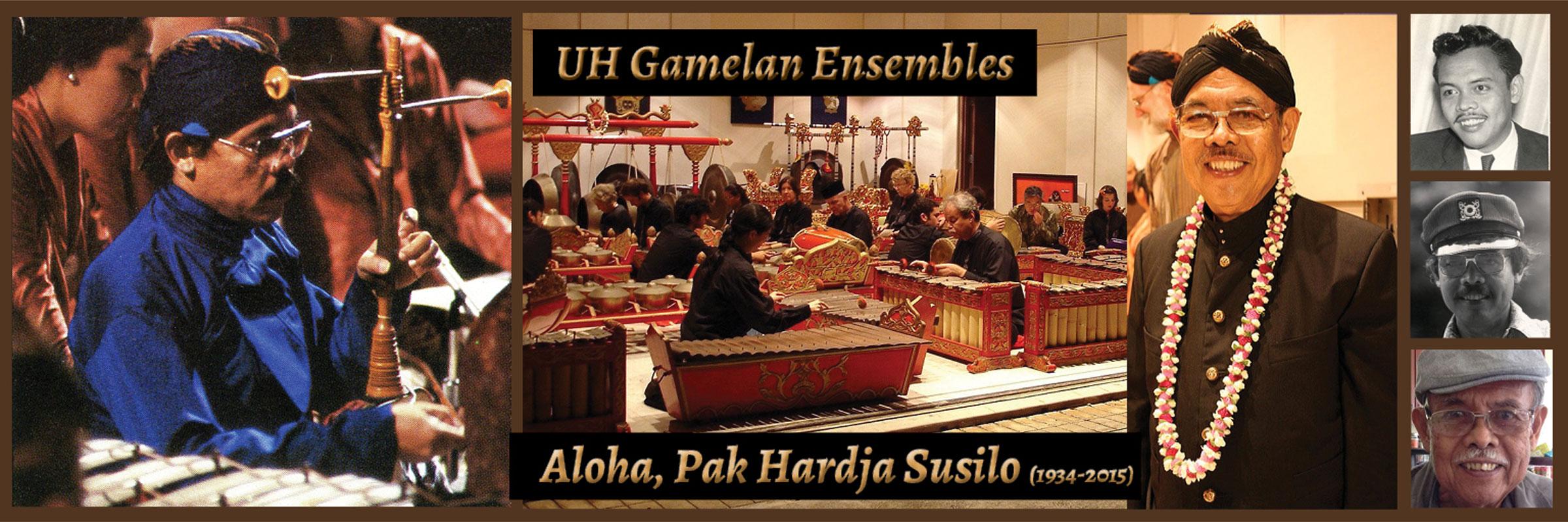 collage of images of Pak Hardja Susilo and gamelan instruments