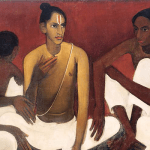 """Brahmacharis"" (1937), oil on canvas, by Amrita Sher-Gil"