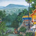 Mural: village life at Wat Baan Pang, Thailand