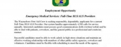 Waynesboro First Aid Crew - Employment Opportunity: Full-Time ALS Providers