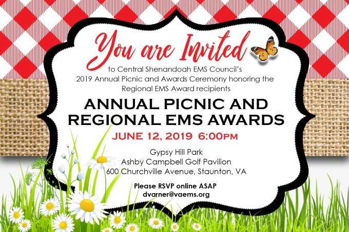 You Are Invited 2019 Csems Annual Picnic Regional Ems Awards