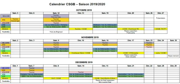 Octobre Calendrier 2019.Calendrier 2019 2020 Octobre A Decembre Csgb
