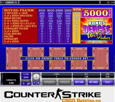 CS GO Bonus Deuces Wild Video Poker Games